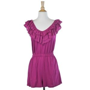French Connection Magenta Ruffle Top Romper